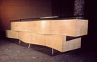 Japanese Ash Aluminum and Glass Credenza.