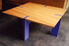 Fir Kitchen Table with Painted Legs.